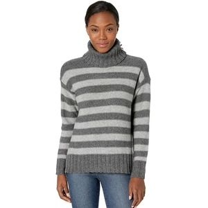 Toad & Co Gray Striped Wool Audrey T Neck Sweater